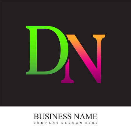 initial letter logo DN colored pink and green, Vector logo design template elements for your business or company identity. Logo