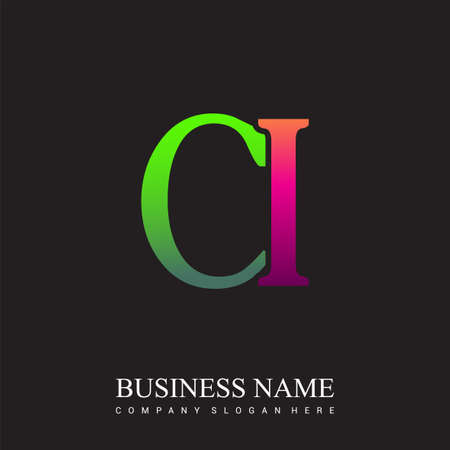 initial letter logo CI colored pink and green, Vector logo design template elements for your business or company identity.