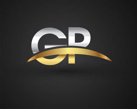 GP initial logo company name colored gold and silver swoosh design. vector logo for business and company identity.
