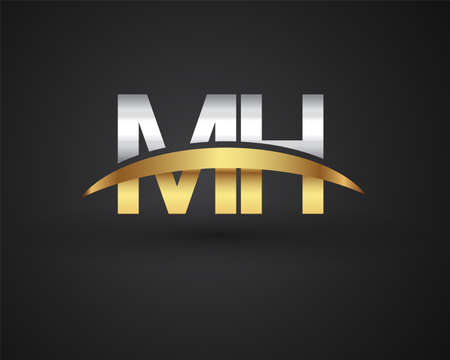 MH initial logo company name colored gold and silver swoosh design. vector logo for business and company identity.