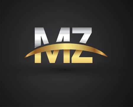 MZ initial logo company name colored gold and silver swoosh design. vector logo for business and company identity.