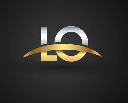 LO initial logo company name colored gold and silver swoosh design. vector logo for business and company identity.