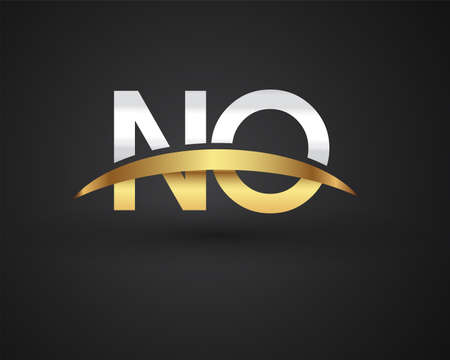 NO initial logo company name colored gold and silver swoosh design. vector logo for business and company identity.