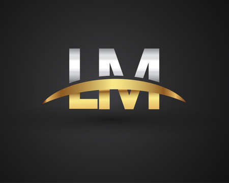 LM initial logo company name colored gold and silver swoosh design. vector logo for business and company identity.