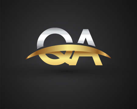 QA initial logo company name colored gold and silver swoosh design. vector logo for business and company identity. Logo