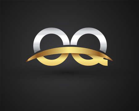 OQ initial logo company name colored gold and silver swoosh design. vector logo for business and company identity. Ilustração