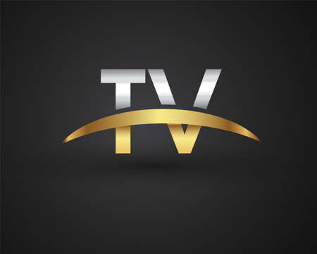 TV initial logo company name colored gold and silver swoosh design. vector logo for business and company identity. Logo