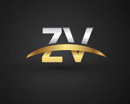 ZV initial logo company name colored gold and silver swoosh design. vector logo for business and company identity.