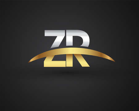 ZR initial logo company name colored gold and silver swoosh design. vector logo for business and company identity.