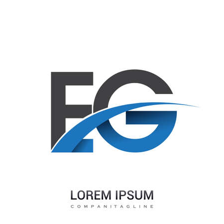 initial letter EG logotype company name colored blue and grey swoosh design. vector logo for business and company identity. Logó