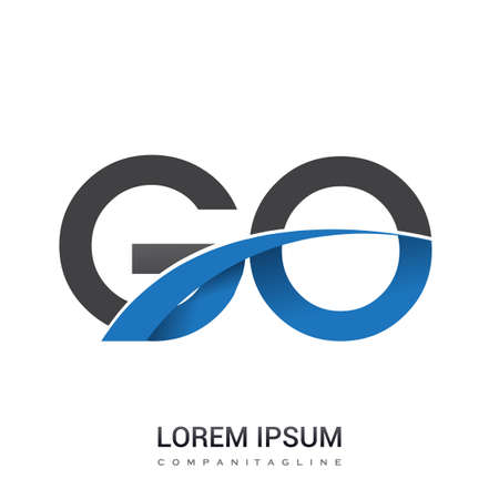 initial letter GO logotype company name colored blue and grey swoosh design. vector logo for business and company identity.