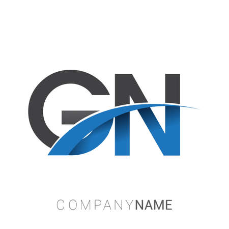 initial letter GN logotype company name colored blue and grey swoosh design. vector logo for business and company identity.