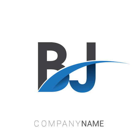 initial letter BJ logotype company name colored blue and grey swoosh design. vector logo for business and company identity. Logó