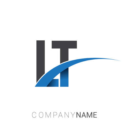 initial letter LT logotype company name colored blue and grey swoosh design. vector logo for business and company identity.