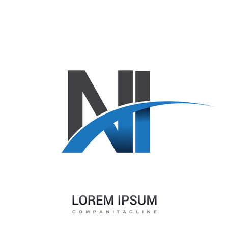 initial letter NI logotype company name colored blue and grey swoosh design. vector logo for business and company identity.