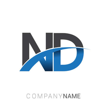 initial letter ND logotype company name colored blue and grey swoosh design. vector logo for business and company identity.