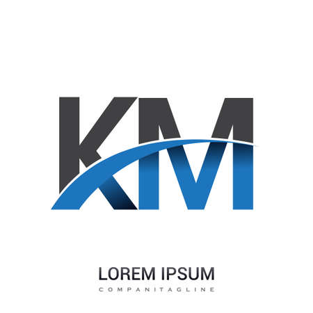 initial letter KM logotype company name colored blue and grey swoosh design. vector logo for business and company identity. Logó