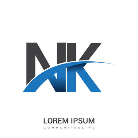 initial letter NK logotype company name colored blue and grey swoosh design. vector logo for business and company identity.