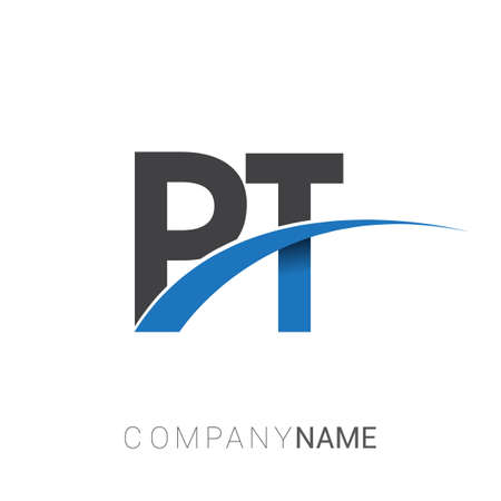 initial letter PT logotype company name colored blue and grey swoosh design. vector logo for business and company identity.