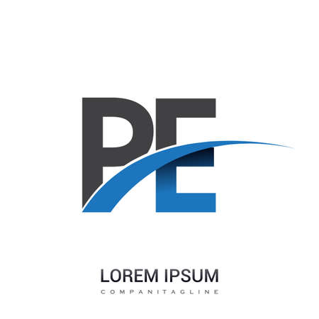 initial letter PE logotype company name colored blue and grey swoosh design. vector logo for business and company identity. Logo