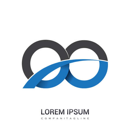 initial letter OO logotype company name colored blue and grey swoosh design. vector logo for business and company identity.