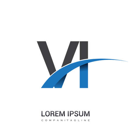 initial letter VI logotype company name colored blue and grey swoosh design. vector logo for business and company identity.