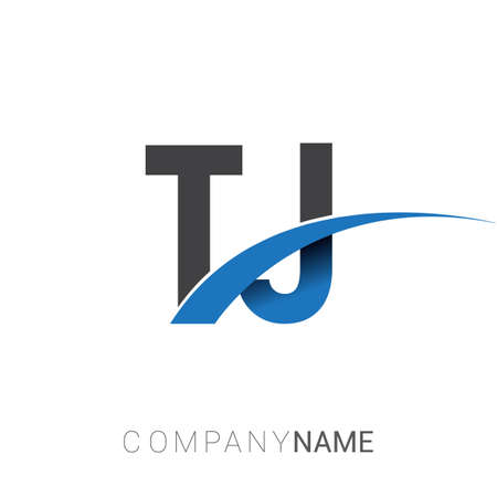 initial letter TJ logotype company name colored blue and grey swoosh design. vector logo for business and company identity.