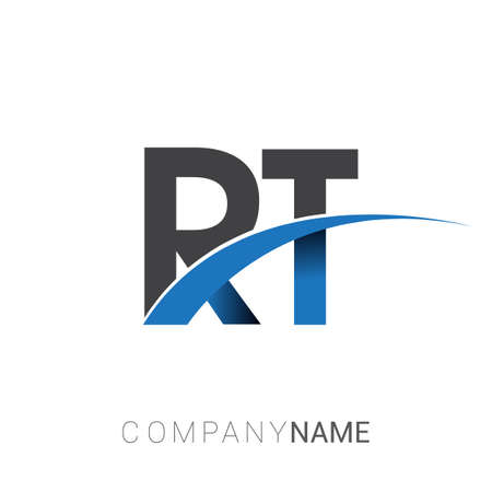 initial letter RT logotype company name colored blue and grey swoosh design. vector logo for business and company identity.