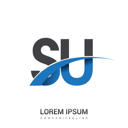 initial letter SU logotype company name colored blue and grey swoosh design. vector logo for business and company identity.