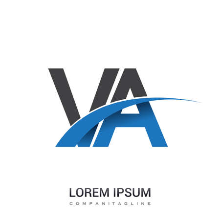 initial letter VA logotype company name colored blue and grey swoosh design. vector logo for business and company identity. Logo