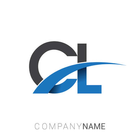 initial letter CL logotype company name colored blue and grey swoosh design. vector logo for business and company identity.
