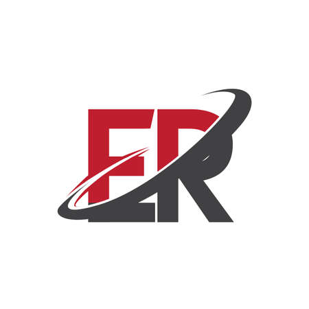 ER initial logo company name colored red and black swoosh design, isolated on white background. vector logo for business and company identity.