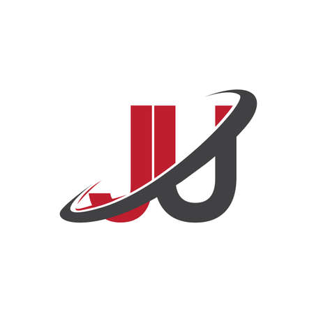 JU initial logo company name colored red and black swoosh design, isolated on white background. vector logo for business and company identity. 向量圖像