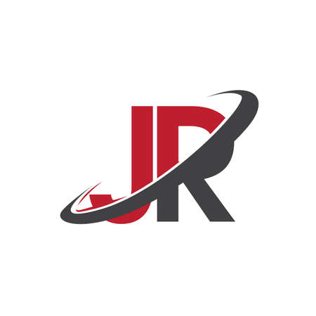 JR initial logo company name colored red and black swoosh design, isolated on white background. vector logo for business and company identity.
