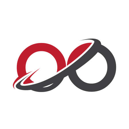OO initial logo company name colored red and black swoosh design, isolated on white background. vector logo for business and company identity. Ilustração