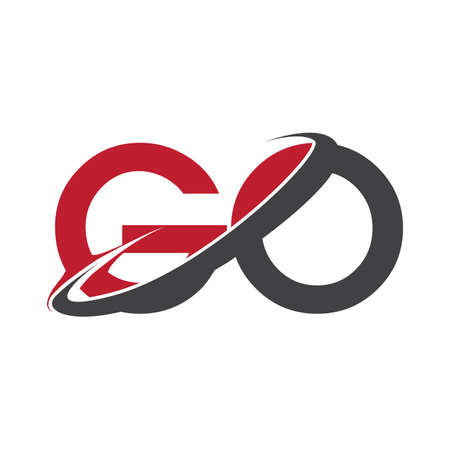 GO initial logo company name colored red and black swoosh design, isolated on white background. vector logo for business and company identity. Logo