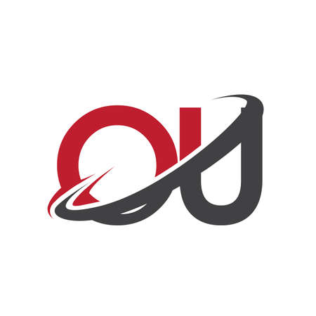 OU initial logo company name colored red and black swoosh design, isolated on white background. vector logo for business and company identity.