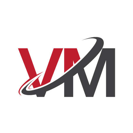 VM initial logo company name colored red and black swoosh design, isolated on white background. vector logo for business and company identity. Logó