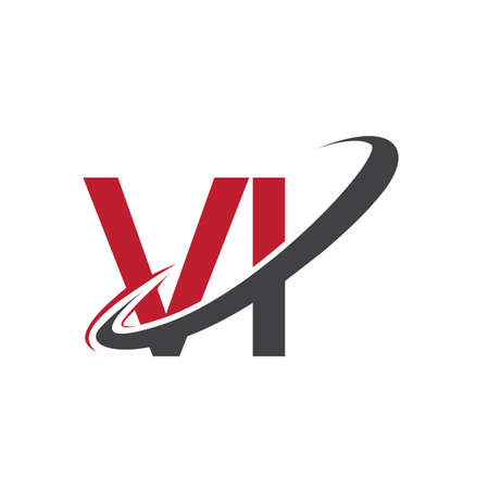 VI initial logo company name colored red and black swoosh design, isolated on white background. vector logo for business and company identity.