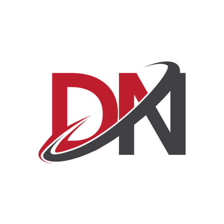 DN initial logo company name colored red and black swoosh design, isolated on white background. vector logo for business and company identity.