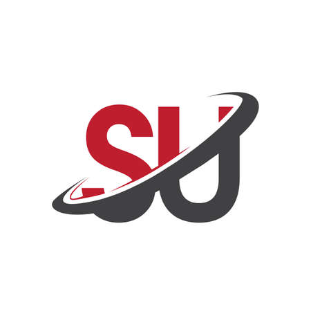 SU initial logo company name colored red and black swoosh design, isolated on white background. vector logo for business and company identity. Ilustração