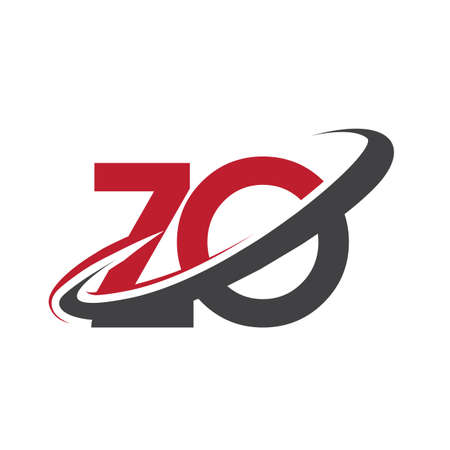 ZO initial logo company name colored red and black swoosh design, isolated on white background. vector logo for business and company identity. Ilustração