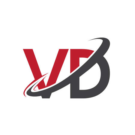 VD initial logo company name colored red and black swoosh design, isolated on white background. vector logo for business and company identity.