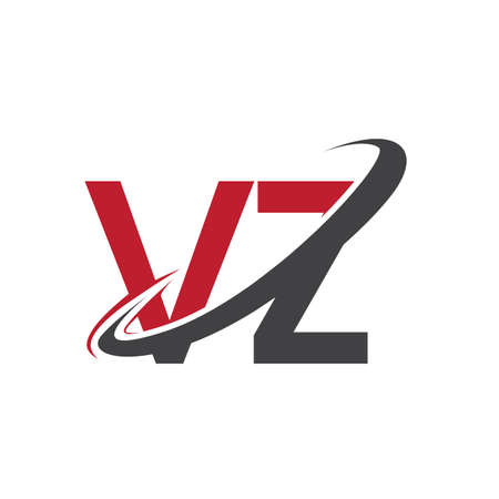 VZ initial logo company name colored red and black swoosh design, isolated on white background. vector logo for business and company identity.