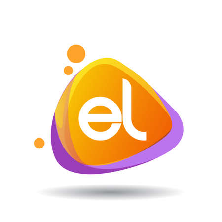 Letter EL logo in triangle splash and colorful background, letter combination logo design for creative industry, web, business and company. Ilustrace