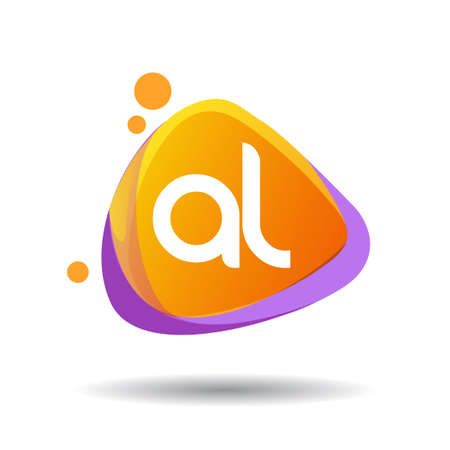 Letter AL logo in triangle splash and colorful background, letter combination logo design for creative industry, web, business and company. Logo