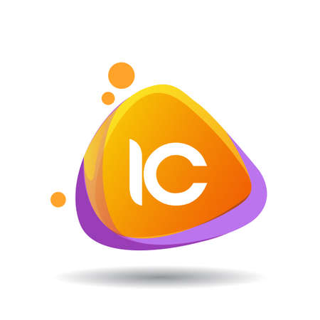 Letter IC logo in triangle splash and colorful background, letter combination logo design for creative industry, web, business and company.