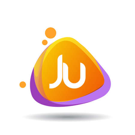 Letter JU logo in triangle splash and colorful background, letter combination logo design for creative industry, web, business and company.