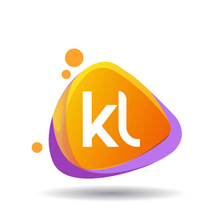 Letter KL logo in triangle splash and colorful background, letter combination logo design for creative industry, web, business and company.