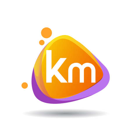 Letter KM logo in triangle splash and colorful background, letter combination logo design for creative industry, web, business and company.